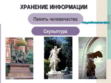 ХРАНЕНИЕ ИНФОРМАЦИИ Память человечества Скульптура