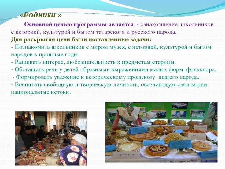 «Родники »  Основной целью программы является - ознакомление школьник...