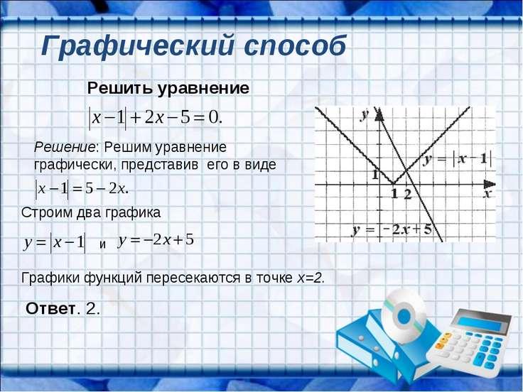Решить уравнение Решение: Решим уравнение графически, представив его в виде С...