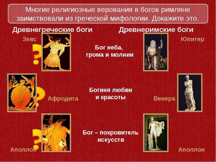 Богиня любви и красоты Древнегреческие боги Древнеримские боги Бог неба, гром...