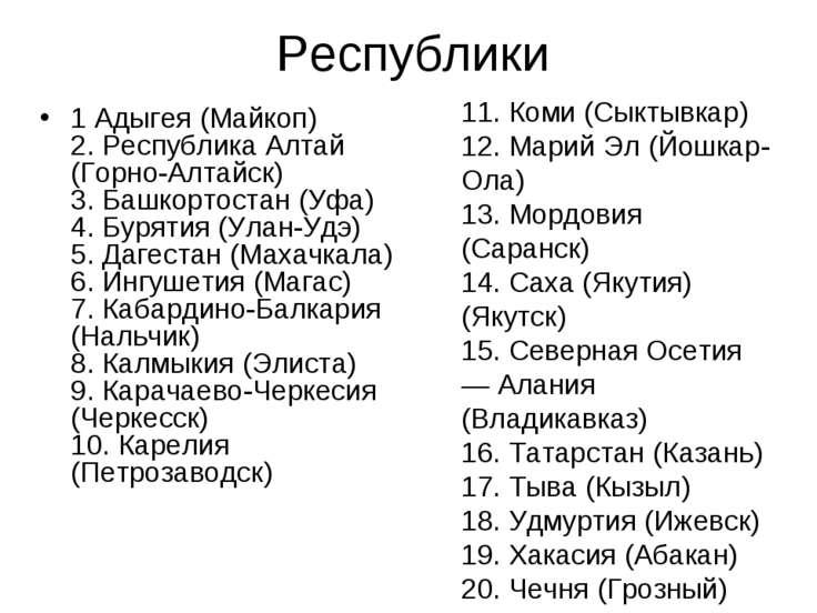 Республики 1 Адыгея (Майкоп) 2. Республика Алтай (Горно-Алтайск) 3. Башкортос...