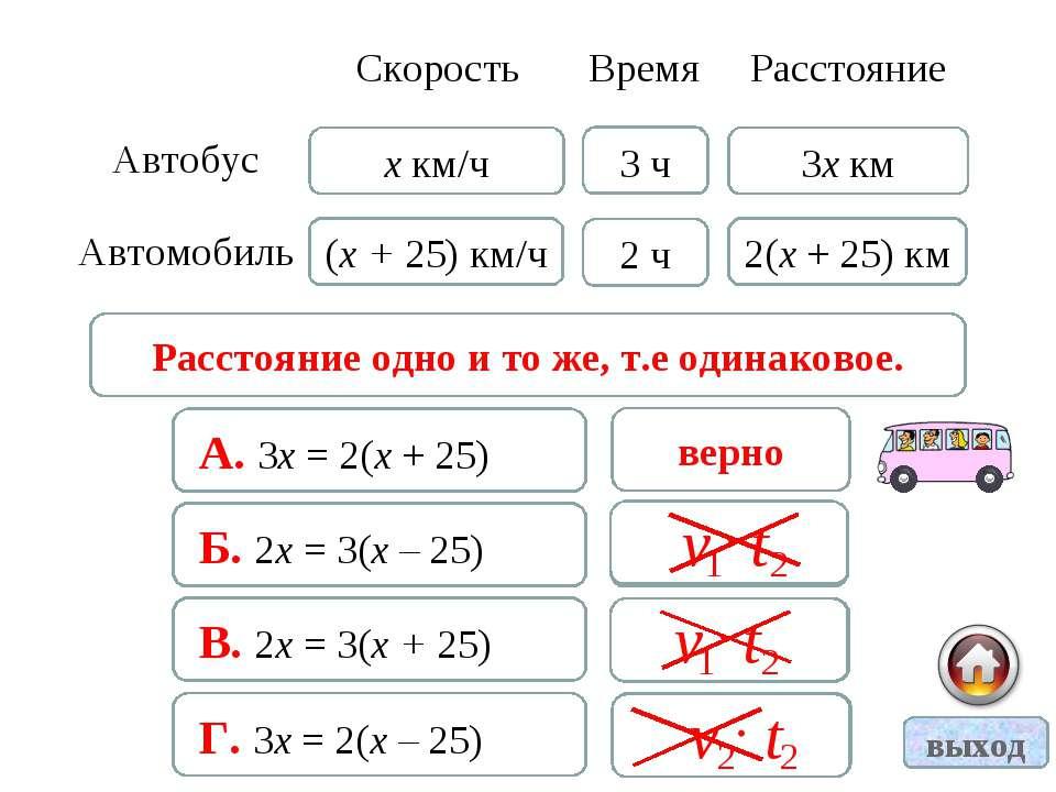 Расстояние одно и то же, т.е одинаковое. А. 3х = 2(х + 25) верно Б. 2х = 3(х ...