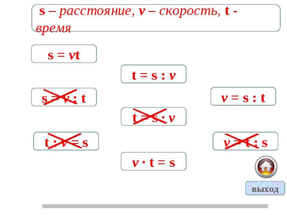s – расстояние, v – скорость, t - время s = vt t = s : v v = s : t s = v : t ...