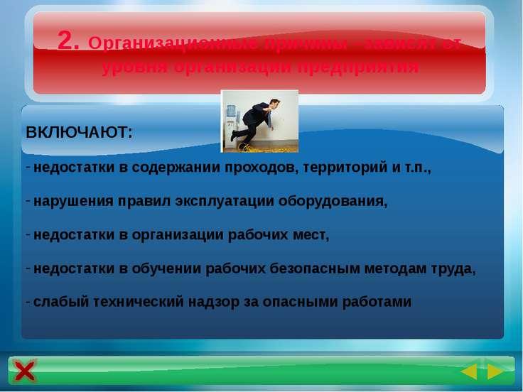 2. Организационные причины –зависят от уровня организации предприятия ВКЛЮЧАЮ...