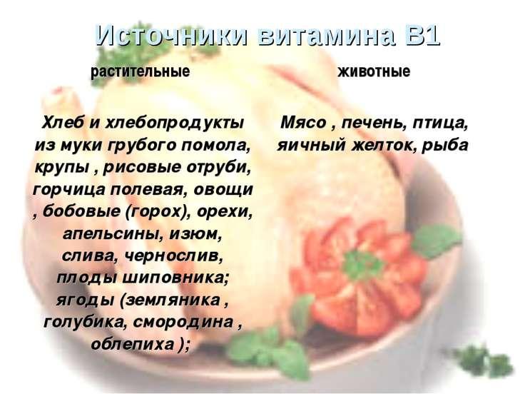 Источники витамина В1 растительные животные Хлеб и хлебопродукты из муки груб...