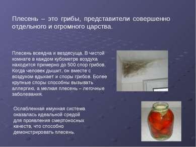 Плесень – это грибы, представители совершенно отдельного и огромного царства....