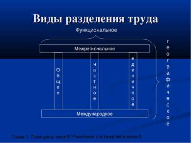Виды разделения труда Общее Международное Межрегиональное частное единичное Ф...