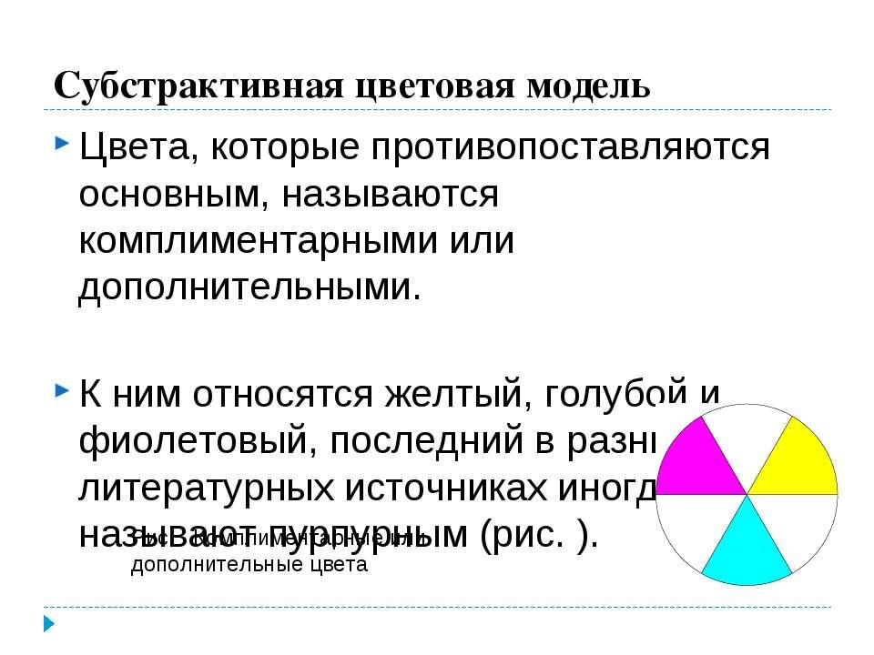 Субстрактивная цветовая модель Цвета, которые противопоставляются основным, н...
