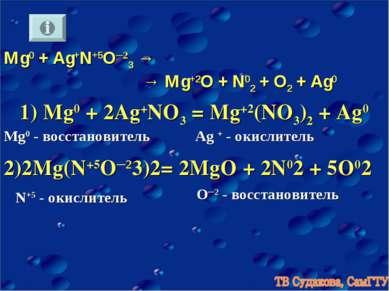 Mg0 + Ag+N+5O─23→ → Mg+2O + N02+ O2 + Ag0 1) Mg0 + 2Ag+NO3= Mg+2(NO3)2 + A...
