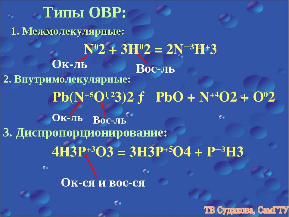 Типы ОВР: 1. Межмолекулярные: N02 + 3H02 = 2N─3H+3 Ок-ль Вос-ль 2. Внутримоле...