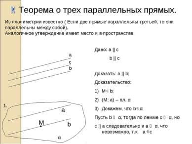 Теорема о трех параллельных прямых. a b c b α 1. M a Дано: а || c b || c Дока...