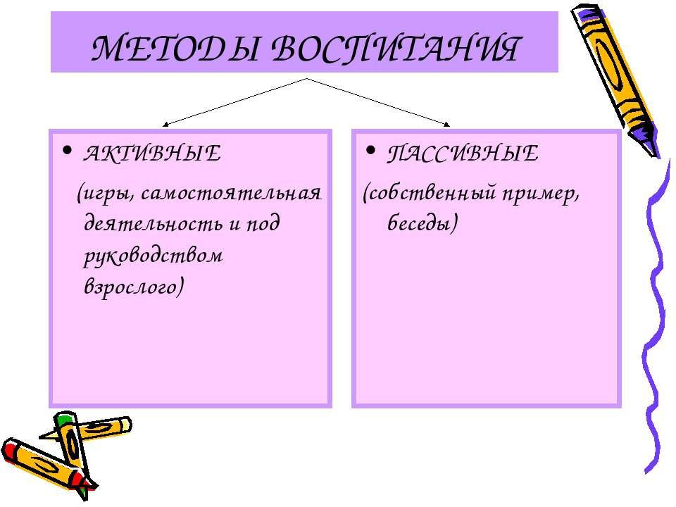 МЕТОДЫ ВОСПИТАНИЯ АКТИВНЫЕ (игры, самостоятельная деятельность и под руководс...