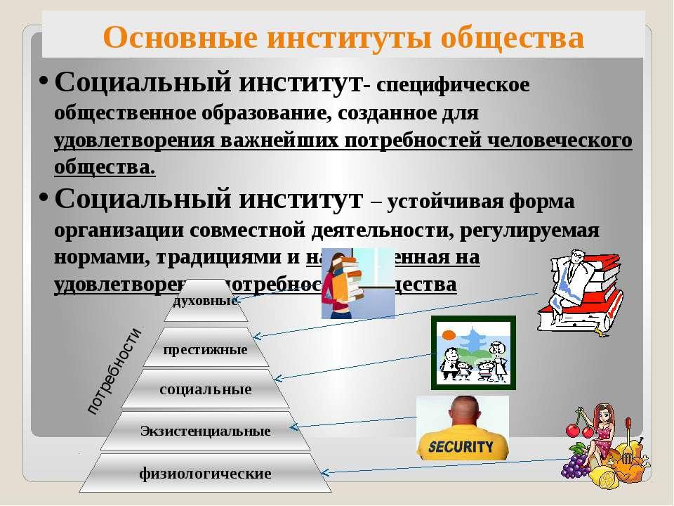 Основные институты общества Социальный институт- специфическое общественное о...