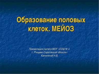 Образование половых клеток. МЕЙОЗ Презентация учителя МОУ «СОШ № 4 г. Ртищево...
