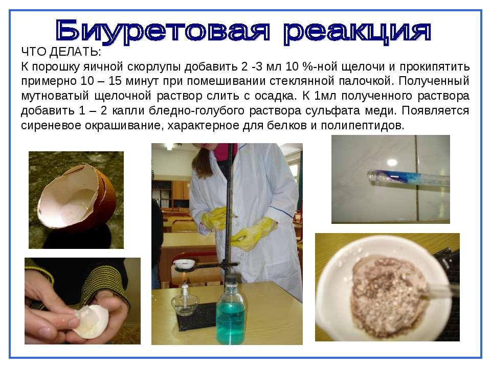 ЧТО ДЕЛАТЬ: К порошку яичной скорлупы добавить 2 -3 мл 10 %-ной щелочи и прок...