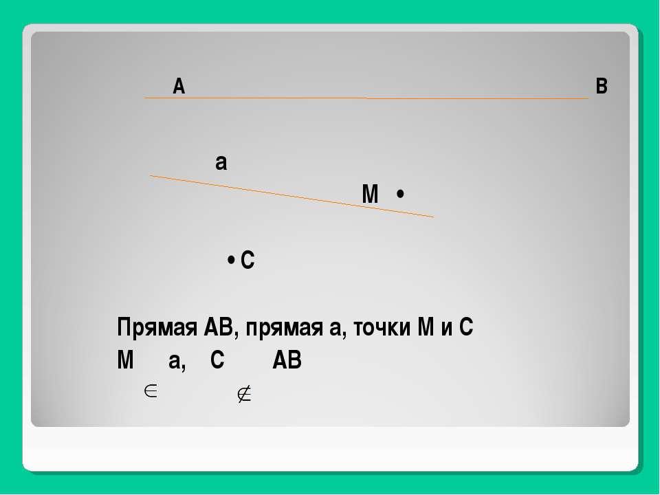 А В а М • • С Прямая АВ, прямая а, точки М и С М а, С АВ
