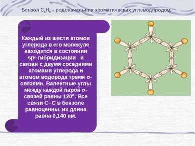 Бензол С6Н6 – родоначальник ароматических углеводородов. Каждый из шести атом...