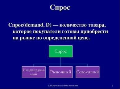 * 3. Рыночная система экономики Спрос Спрос(demand, D) — количество товара, к...