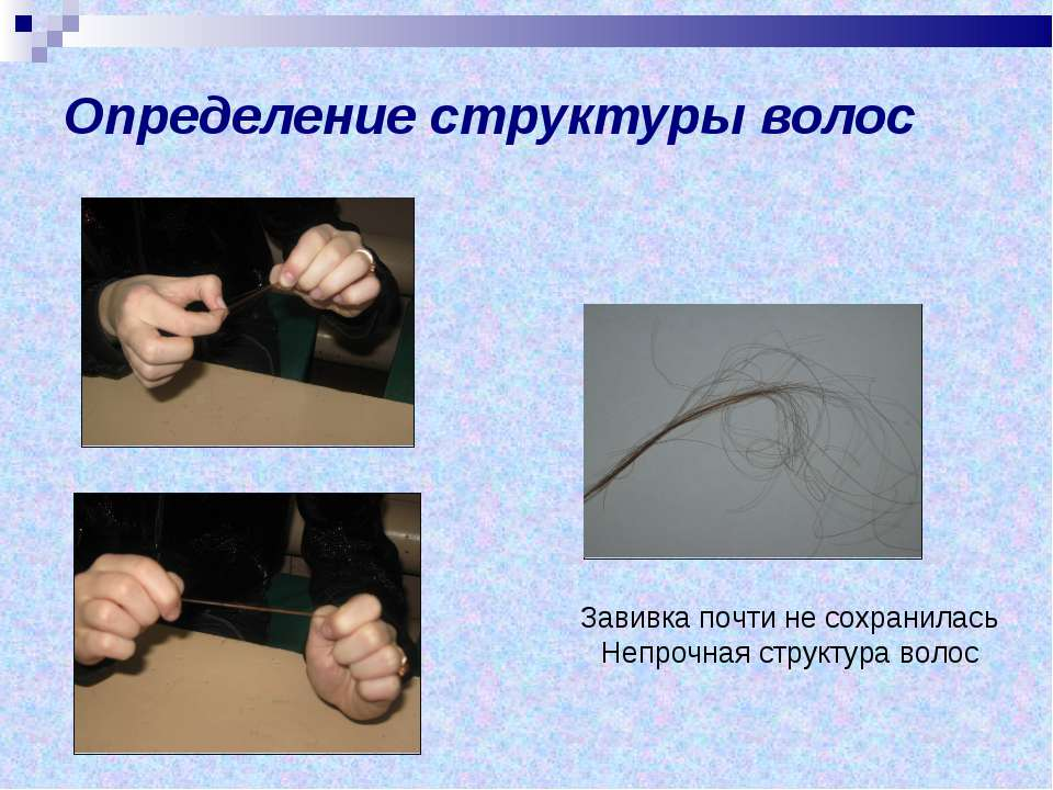 Определение структуры волос Завивка почти не сохранилась Непрочная структура ...