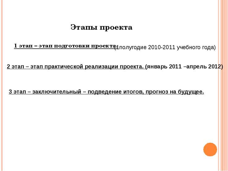 Этапы проекта 1 этап – этап подготовки проекта. (1полугодие 2010-2011 учебног...