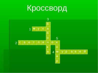 1 2 3 4 5 Кроссворд м у х а б б о ч к а с в е т л я о к о м а р у р а в е й