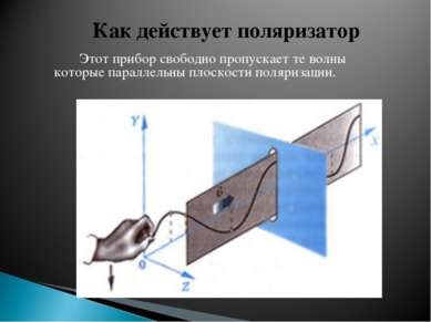 Этот прибор свободно пропускает те волны которые параллельны плоскости поляри...