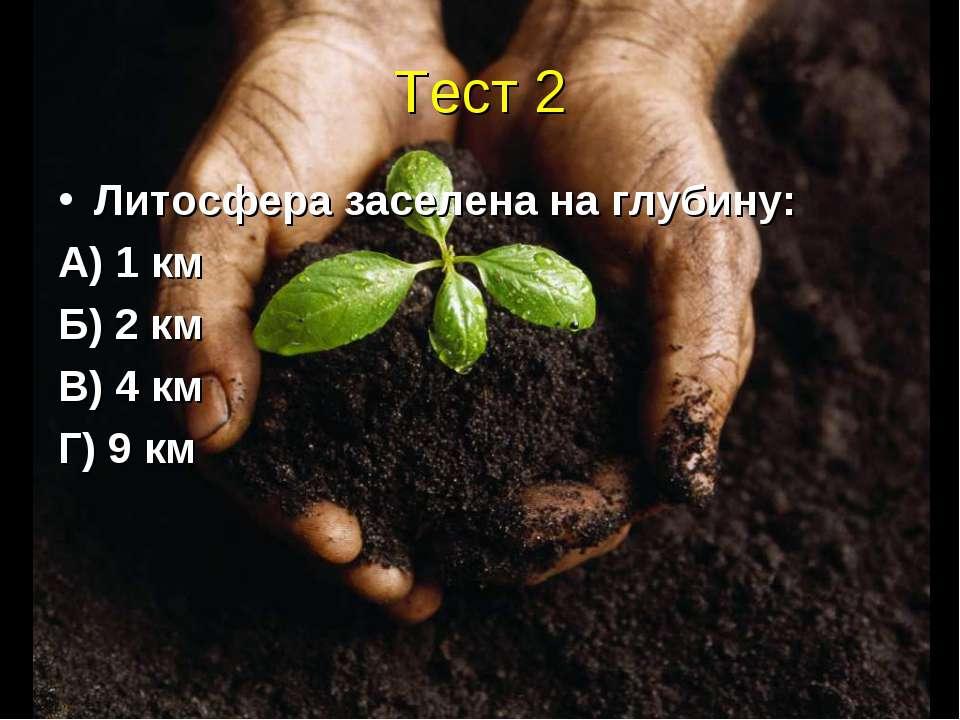 Тест 2 Литосфера заселена на глубину: А) 1 км Б) 2 км В) 4 км Г) 9 км