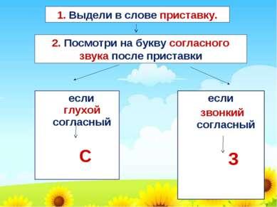 если глухой согласный С если звонкий согласный З 1. Выдели в слове приставку....