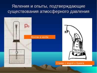 Явления и опыты, подтверждающие существования атмосферного давления Фонтан в ...