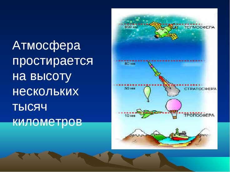 Атмосфера простирается на высоту нескольких тысяч километров