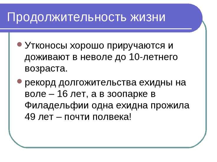 Продолжительность жизни Утконосы хорошо приручаются и доживают в неволе до 10...