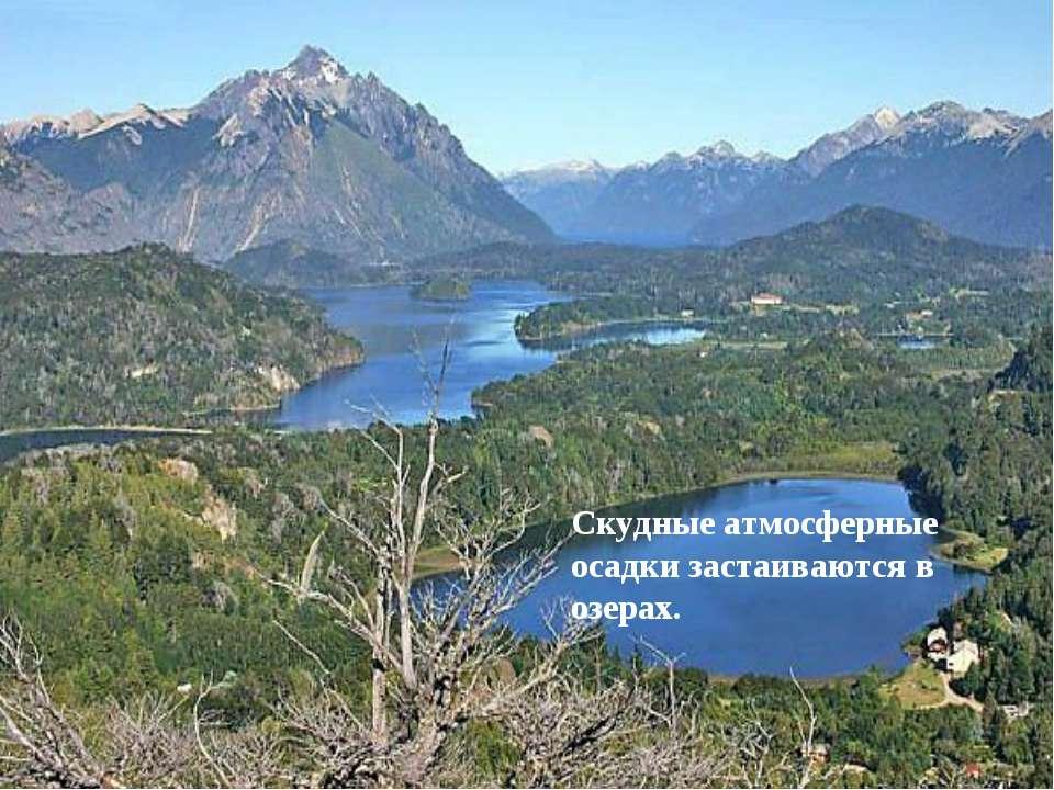 Скудные атмосферные осадки застаиваются в озерах.