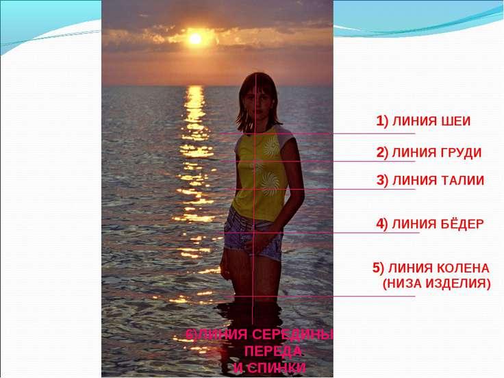 2) ЛИНИЯ ГРУДИ 3) ЛИНИЯ ТАЛИИ 4) ЛИНИЯ БЁДЕР 5) ЛИНИЯ КОЛЕНА (НИЗА ИЗДЕЛИЯ) 1...