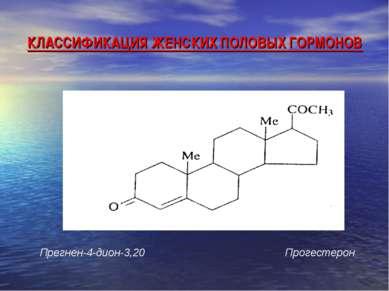 КЛАССИФИКАЦИЯ ЖЕНСКИХ ПОЛОВЫХ ГОРМОНОВ Прегнен-4-дион-3,20 Прогестерон