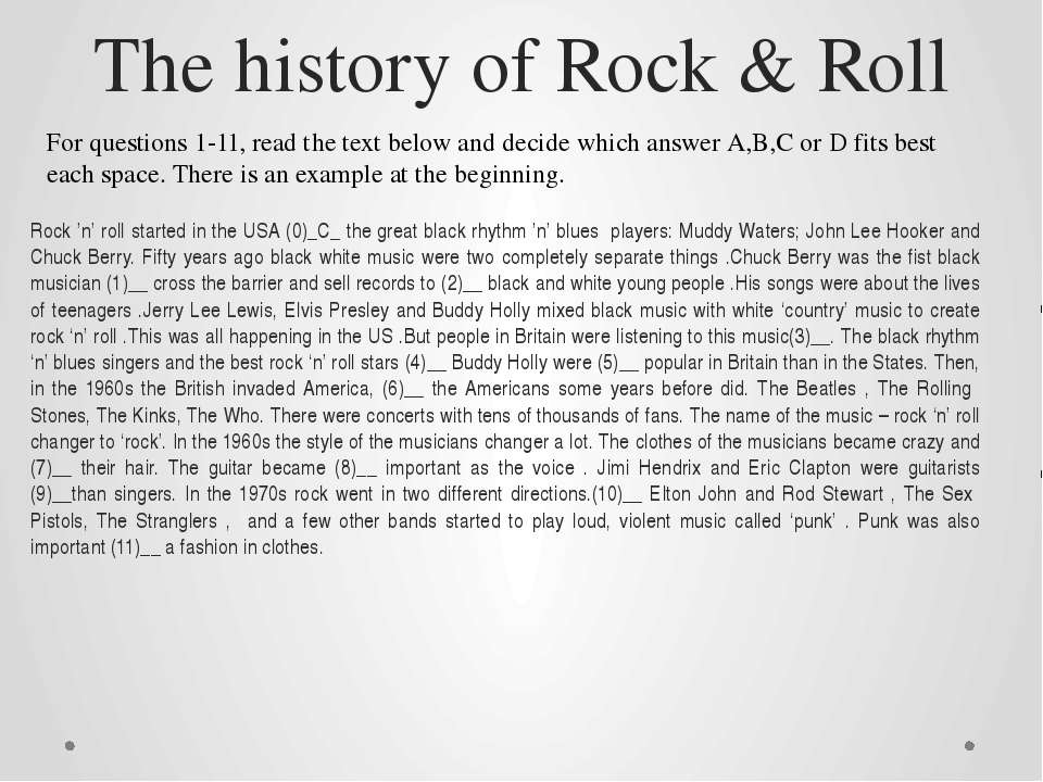 The history of Rock & Roll Rock 'n' roll started in the USA (0)_C_ the great ...