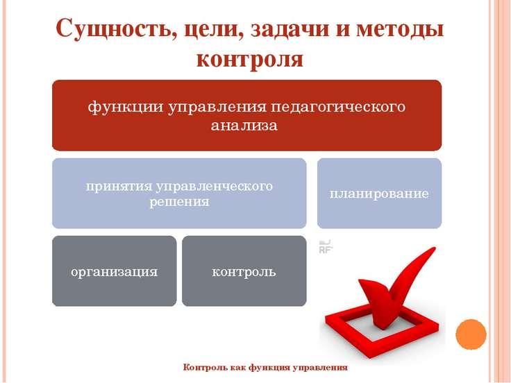 Сущность, цели, задачи и методы контроля  Контроль как функция управления