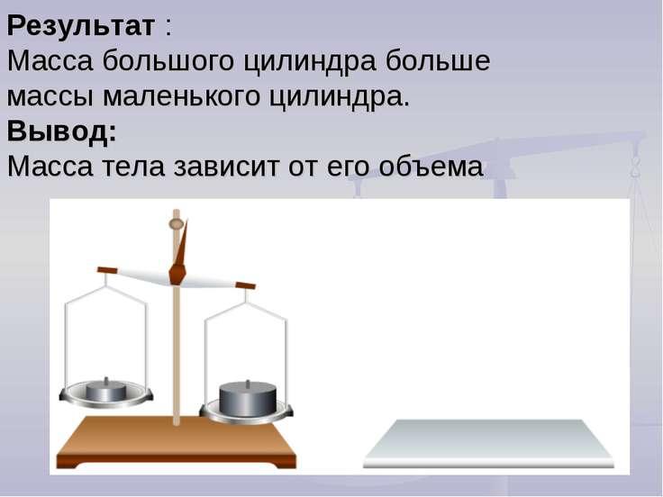 Результат : Масса большого цилиндра больше массы маленького цилиндра. Вывод: ...