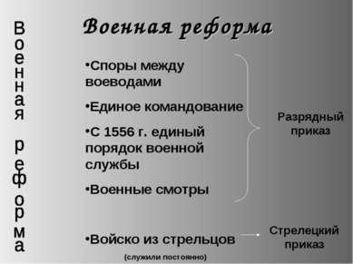 Военная реформа Споры между воеводами Единое командование С 1556 г. единый по...