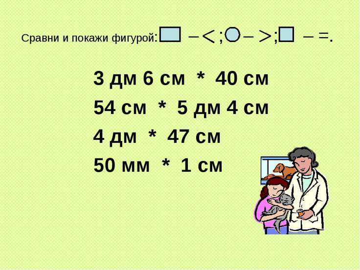 Сравни и покажи фигурой: – ; – ; – =. 3 дм 6 см * 40 см 54 см * 5 дм 4 см 4 д...