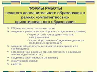 ФОРМЫ РАБОТЫ педагога дополнительного образования в рамках компетентностно-ор...