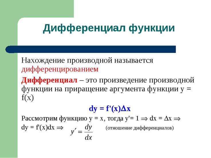 Дифференциал функции Нахождение производной называется дифференцированием Диф...