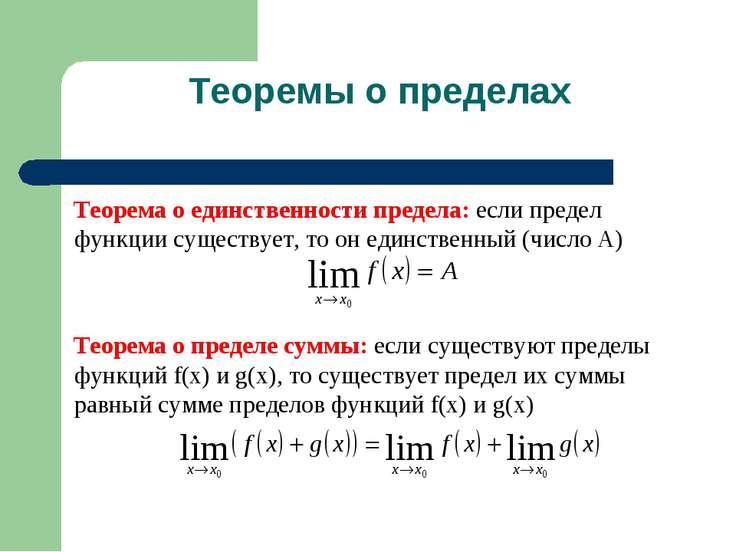 Теоремы о пределах Теорема о единственности предела: если предел функции суще...
