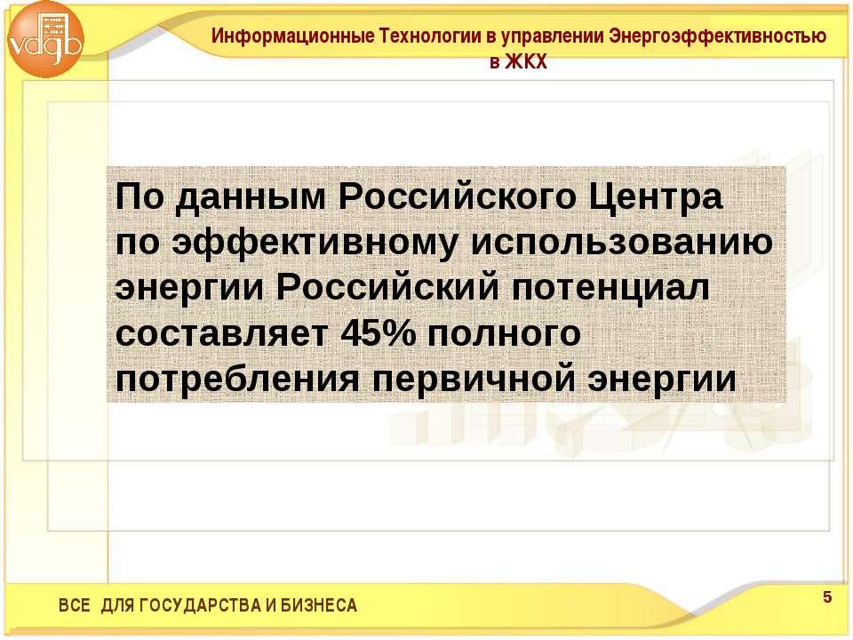 По данным Российского Центра по эффективному использованию энергии Российский...