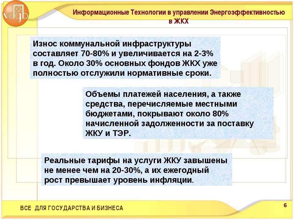 Износ коммунальной инфраструктуры составляет 70-80% и увеличивается на 2-3% в...