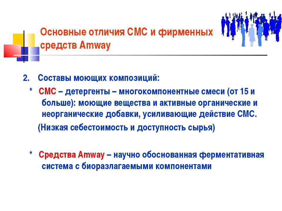 Основные отличия СМС и фирменных средств Amway 2. Составы моющих композиций: ...