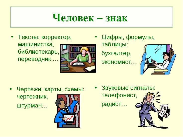 Человек – знак Тексты: корректор, машинистка, библиотекарь, переводчик … Цифр...