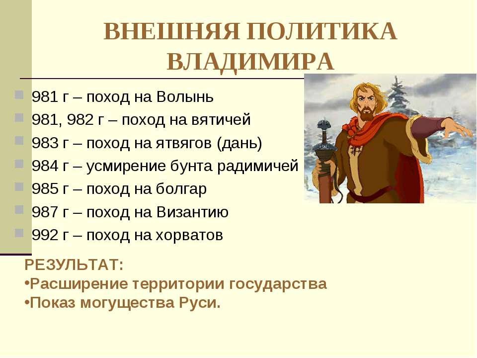 ВНЕШНЯЯ ПОЛИТИКА ВЛАДИМИРА 981 г – поход на Волынь 981, 982 г – поход на вяти...