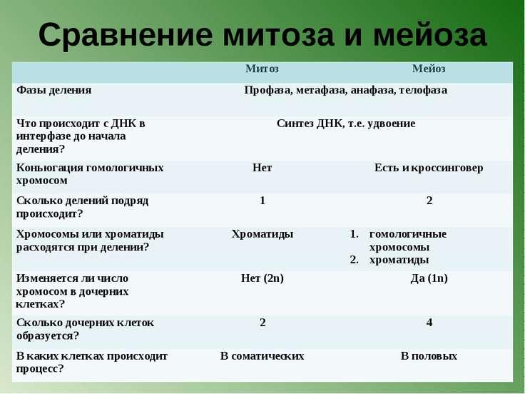 Сравнение митоза и мейоза Митоз Мейоз Фазы деления Профаза, метафаза, анафаза...