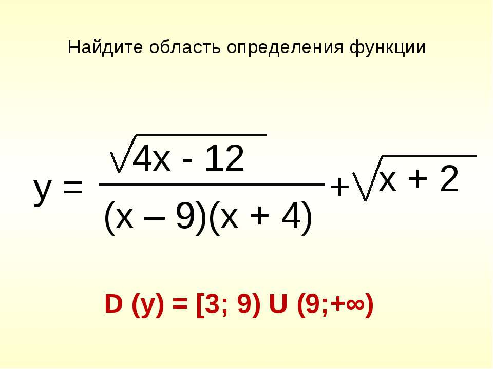 Найдите область определения функции D (y) = [3; 9) U (9;+∞) y = 4x - 12 (x – ...