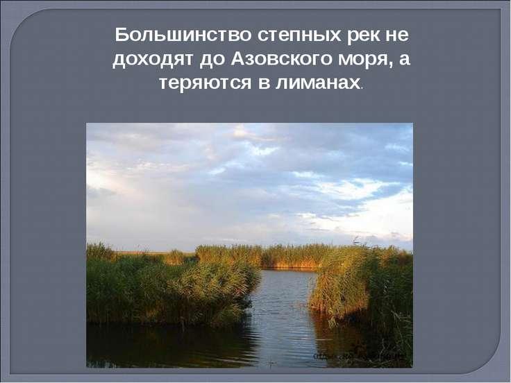 Большинство степных рек не доходят до Азовского моря, а теряются в лиманах.